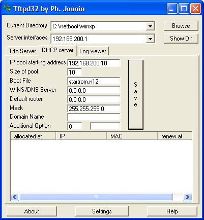 Setting tftpd32 and ris-linux [installing windows xp from a.